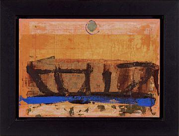 KJELL NUPEN KRISTIANSAND 1955 - D.SST. 2014  Komposisjon Olje på pergament og lerret / Collage. 35x50 cm Lakksegl signert oppe i midten