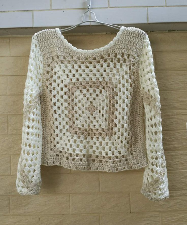 Granny Square Crochet Crop Top with Long Sleeve by TinaCrochet2016