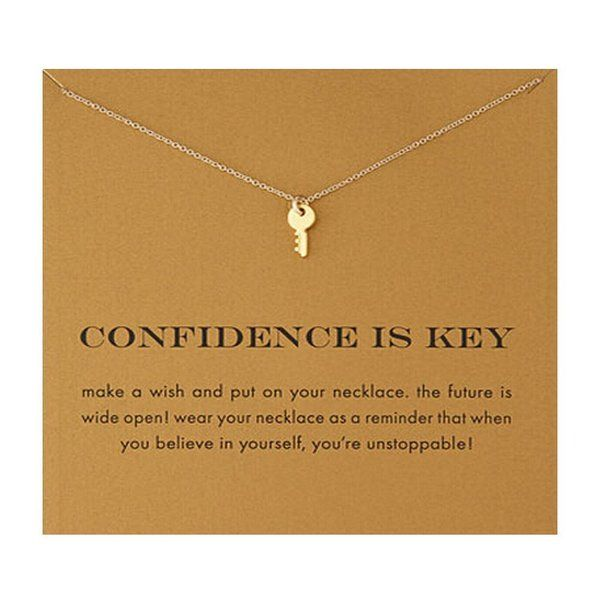 Confidence Is Key, Inspirational Message Card Pendant Necklace, Gold Plated Jewellery Love Luck Star