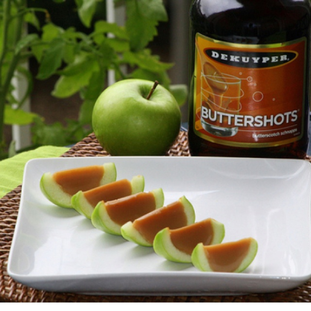 Carmel apple jello shots!   (If you wanted something with a little bit more alcohol content you could always try them out with Van Gogh Dutch Caramel Vodka instead of butterscotch schnapps)    Shopping List (makes about 40 slices/shots)   10 small granny smith apples  1 envelope knox gelatin  1/2 cup water  1/2 cup coconut milk  2 drops yellow food coloring  1 envelope Land o Lakes caramel hot chocolate (Regular would do just fine )  1/4 cup sugar  1/2 cup butterscotch schnapps  ...