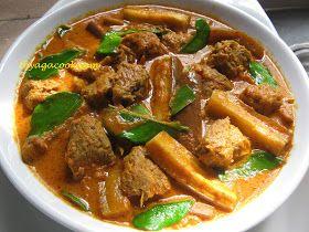 VEGETARIAN SIAMESE CURRY 300gm long brinjal. 250gm vegetarian mutton 5 kaffir lime leafs,tear 1 tbsp meat curry powder 1 piece t...