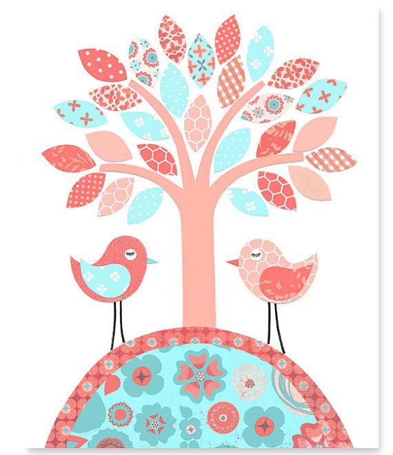 Baum-Baumschule Kunstdruck Vögel Aqua Korallen Peach Girl Room Decor Baby…