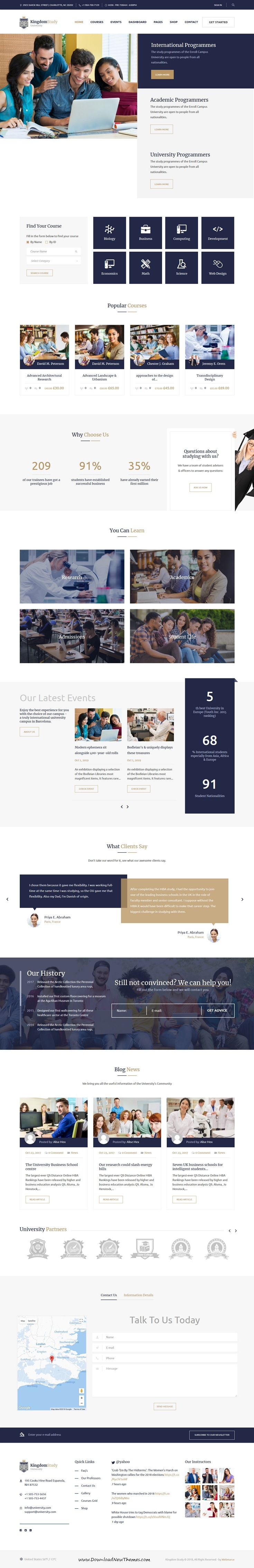 Kingdom Study is clean and modern design 4in1 responsive #WordPress theme for #college, online #courses and #LMS learning management system website to live preview & download click on Visit