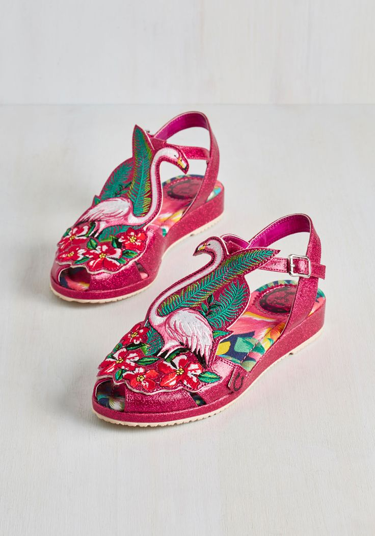 Flock and Stroll Sandal by Miss L Fire - Pink, White, Print with Animals