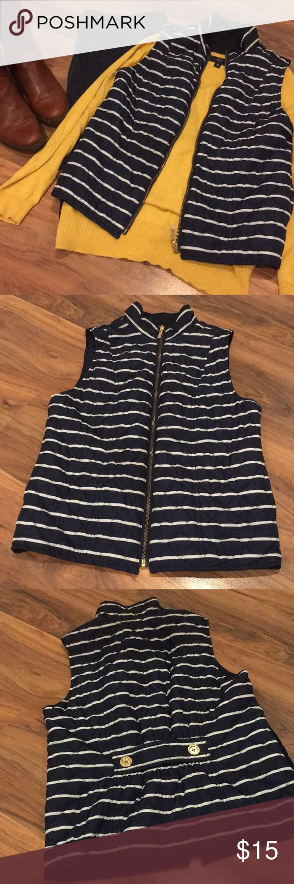 Navy & White Striped Reversible Vest Perfect condition! Striped side has pockets. No size or brand tag, fits like XS/S and I believe it is from Old Navy. Mustard sweater and denim skirt also available. Old Navy Jackets & Coats Vests