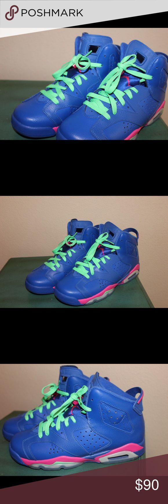100% authentic Jordan retro 6 Multi colored, air Jordan retros, WORN ONLY ONE TIME Jordan Shoes Sneakers