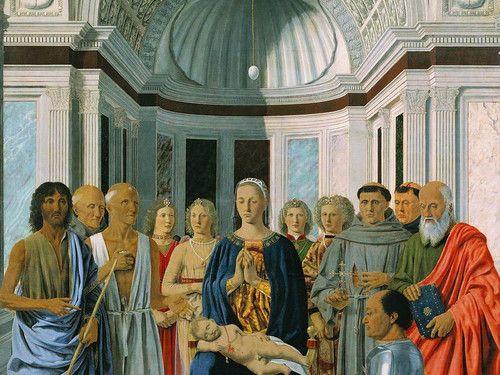 Pala di Brera, o Pala Montefeltro, Piero della Francesca,  1472, tempera olio su tavola, PInacoteca di Brera, MIlano