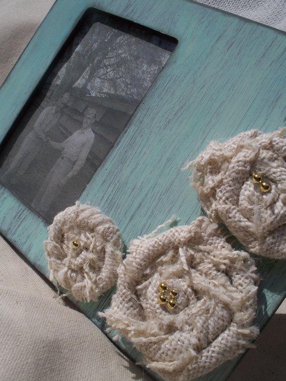 Shabby Chic Rosette Frame: Shabby Chic Frames, Burlap Flower, Black Frames, Altered Frames, Romantic Shabby, Chic Rosette, Rustic Pictures Frames, Rosette Frames, Distressed Pictures Frames