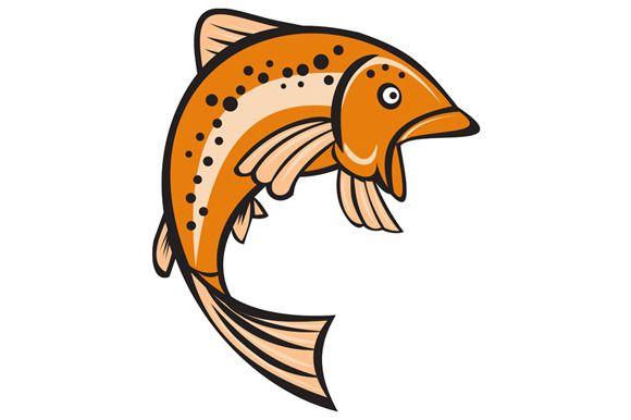 Trout Rainbow Fish Jumping Up Cartoo by patrimonio on Creative Market