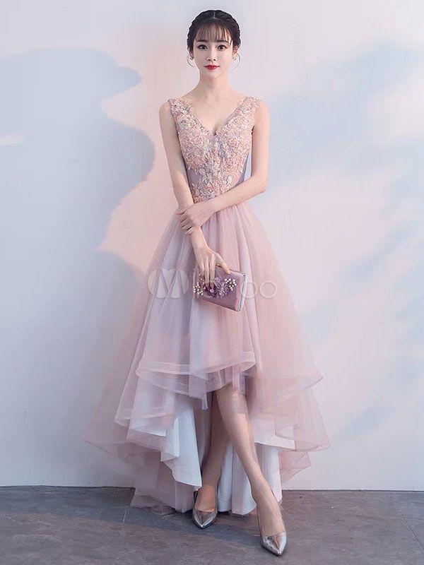 beb5b4b1df Pink Prom Dresses Lace V Neck High Low Graduation Dress Asymmetrical Party  Dress  Lace