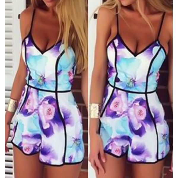$14.10 Sexy Spaghetti Strap Sleeveless Printed Low Cut Women's Romper