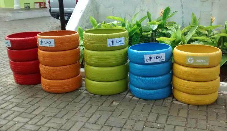 Coletores de resíduos podem usar materiais, como o pneu, que são descartados, prejudicando o meio ambiente. Se não puder reciclar, reutilize!
