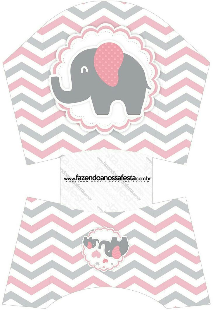 Caja abierta. Elefante rosa.