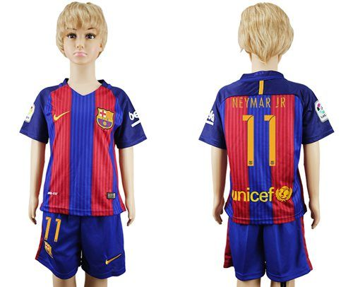 Barcelona #11 Neymar Jr Home Kid Soccer Club Jersey Cheap Jerseys for sale