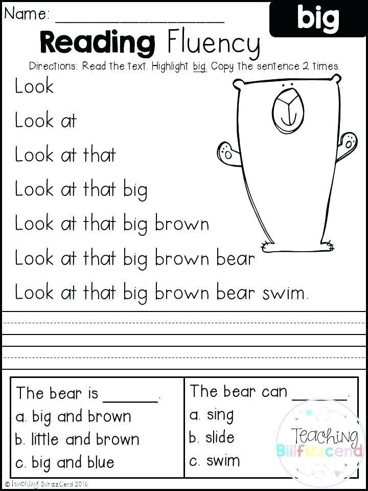 Kindergarten Reading Comprehension Worksheets Pdf Reading Passage For Kindergarten Workshe In 2020 Reading Fluency Free Kindergarten Reading Reading Fluency Activities