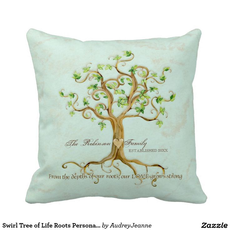 Swirl Tree of Life Roots Personalized Family Gift Throw Pillow-This is a personalized Family gift featuring your family's name and the year established, ideal for a Wedding or Anniversary Gift Decorative Throw Pillow. The artwork for this elegant, formal yet somewhat rustic wedding invitation invite is hand water colored by Audrey Jeanne Roberts.