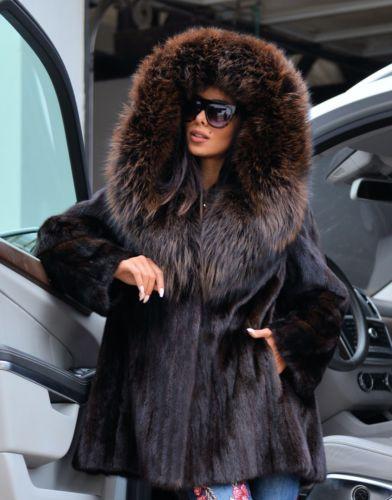 Новая коричневая сага норковая длинная куртка лиса капюшон класс соболя шиншилла пальто серебро
