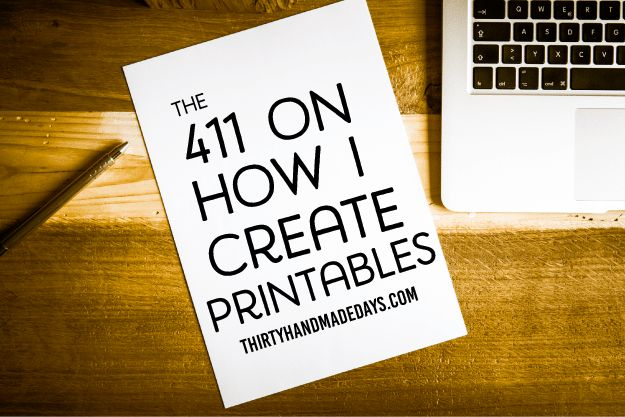 The 411 on How I Create Printables - the basics on what I do to design printables for 30days.