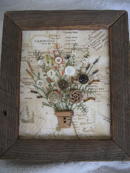 Antique Button Bouquet in Rustic Barnwood Frame
