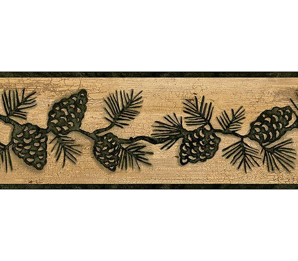 Interior Place Green and Brown Lodge Pinecones Wallpaper