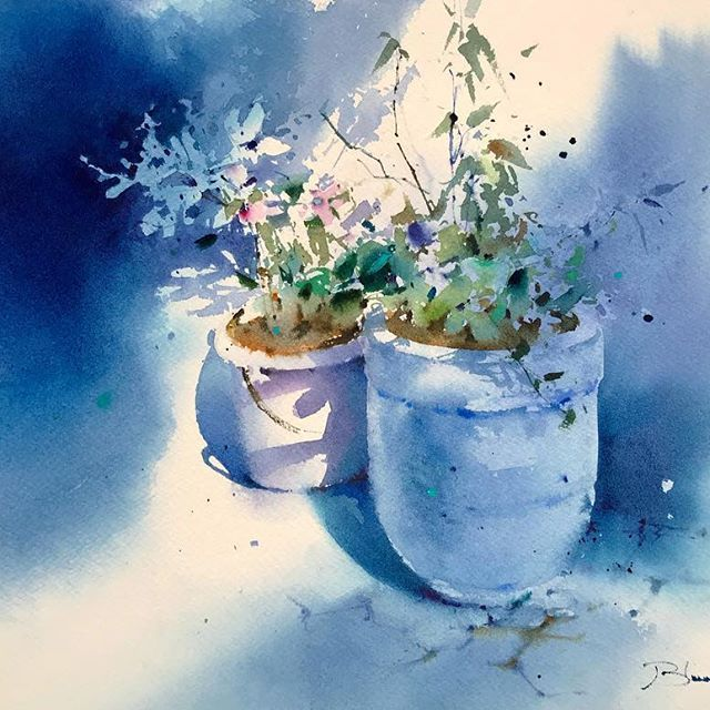 Acuarela Sobre Papel In A Blue World Watercolor Aquarelle Art