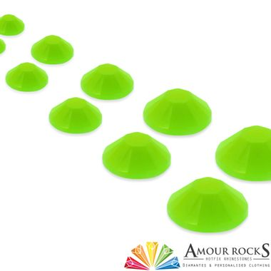 Use Fluorescent Green Hotfix Candy Rhinestones for the brightest and most fun way to decorate your clothing