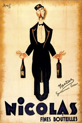 This ready to hang, matted framed art piece features a vintage poster of a man in a suit holding two bottles of wine. For hundreds of years, posters have been displayed in public places all over the w