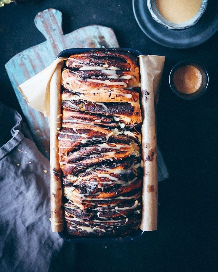 Schokoladen Zupfbrot mit Espresso Zuckerguss - Chocolate pull apart bread with espresso glaze
