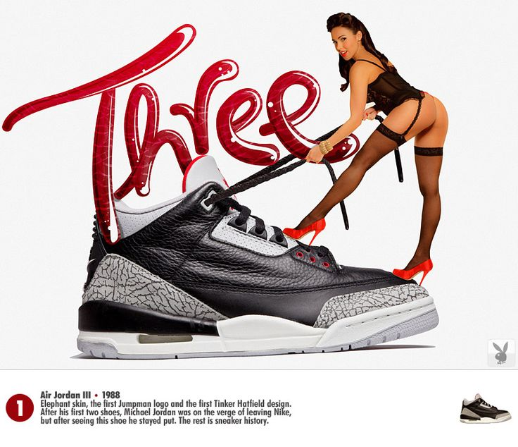 Air Jordan III black / cement X Playboy Solemate