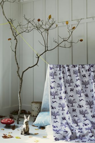 Hibou Home Enchanted Wood Fabric: Aubergine on Soft Lilac - from Rocket St George