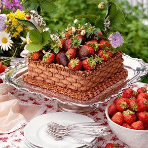 Chocolate-Strawberry Basket Cake   MyRecipes.com