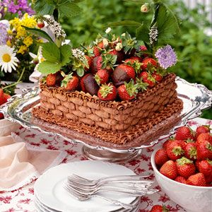 Strawberries are in season finally! How about this gorgeous Chocolate-Strawberry Basket Cake? | MyRecipes.com