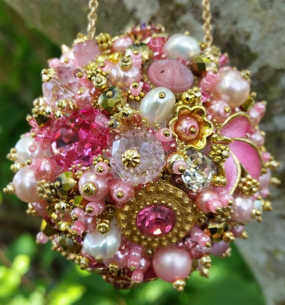 Bejeweled Ornament Pink Gold Art Vintage by ClassicStyleDesigns
