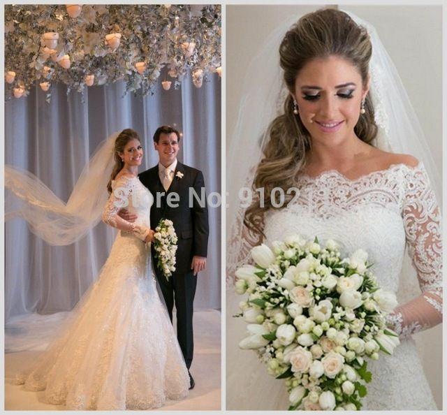 Уникальная линия высокая шея аппликации кружева свадебные платья винтаж длинные рукава свадебное платье пляж свадебное платье