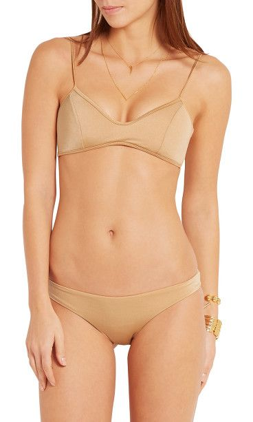 On SALE at 50% OFF! sicily metallic bikini by Melissa Odabash. Low -rise briefs . Model is 175cm/ 5'9, bra size 34B and is wearing a UK size 10 Pale -gold stretch -polyamide . Slip...