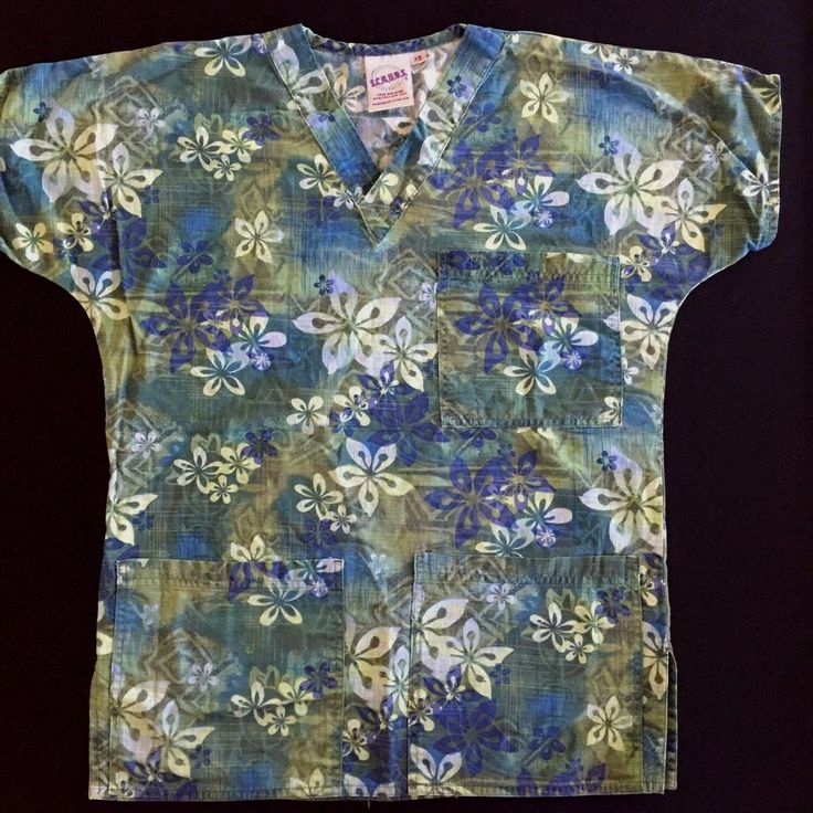 XS Scrub Top S.C.R.U.B.S. Blue Green Tropical Floral Print Nurse Uniform Medical #SCRUBS