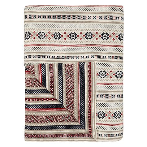 John Lewis Celebration Pattern Throw Blanket, Cream/Red