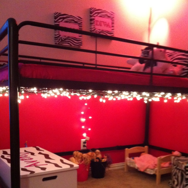 Christmas Lights To Brighten The Space Under A Loft Bed Kids