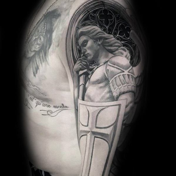 40 Angel Statue Tattoo Designs For Men Carved Stone Ink