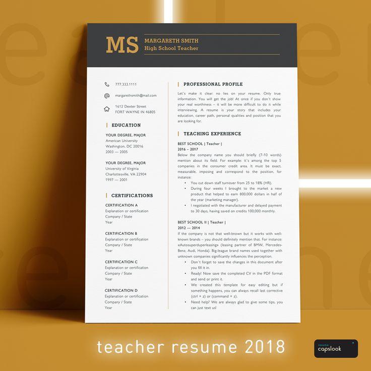 Best Teacher Resume Templates Images On