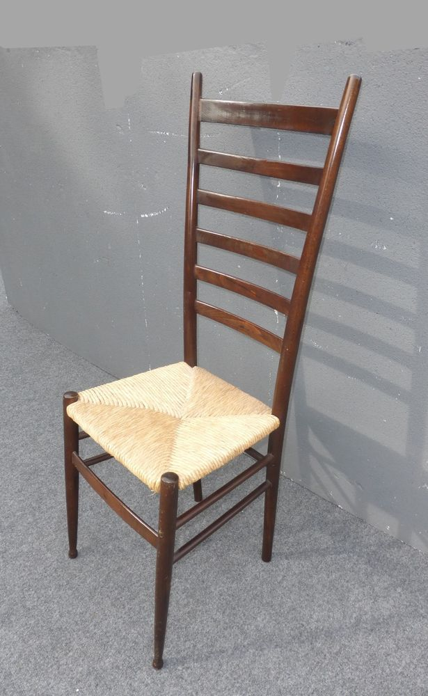 Vintage Rush Seat Tall Ladder Back Accent Chair French