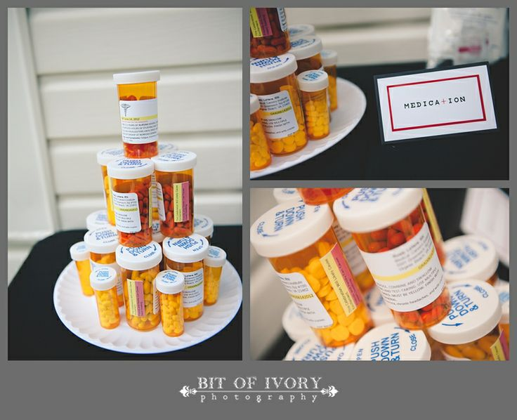 Nurse Graduation Party | Customized Rx Labels and bottles filled with Altoids, Mike and Ikes, Good n Plenty, and Tic-Tacs.