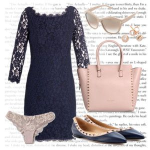 """Anastasia Steele's Navy Lace Dress/Flats to see Dr. Flynn, the Puget Sound Mansion, and the """"Mile High"""" Club"""