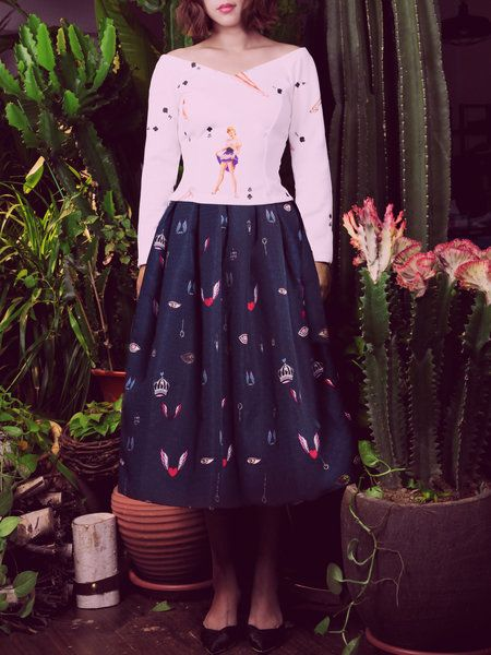 Shop Midi Skirts - Dark Blue A-line Midi Skirt online. Discover unique designers fashion at StyleWe.com.