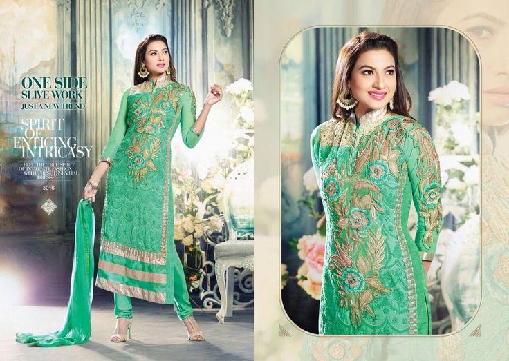 Sea Green Salwar Kameez - Gauhar Khan. Beautiful and trendy