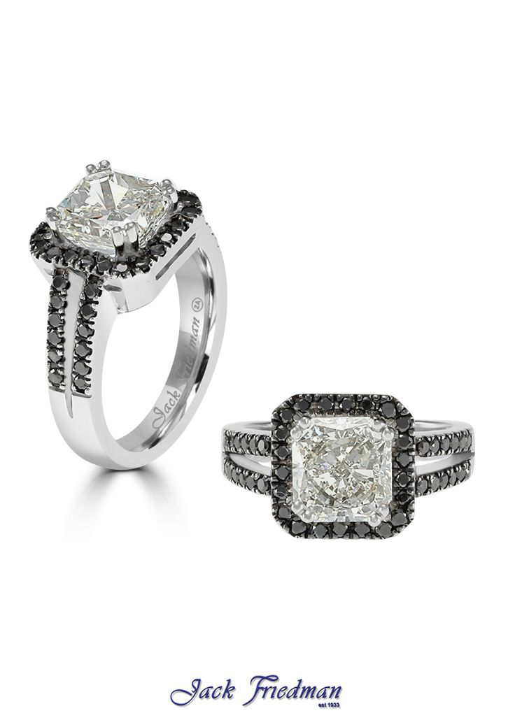 Halo design engagement ring with open band and princess cut diamond jackfriedman.co.za