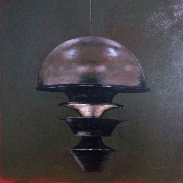 Original acrylic painting - Still life of industrial lamp in a contemporary realism style.