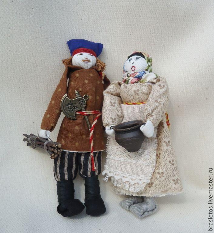 """Купить Куклы народные. Семейная пара """"Каша из топора"""" - текстильные куклы, интерьерные куклы"""