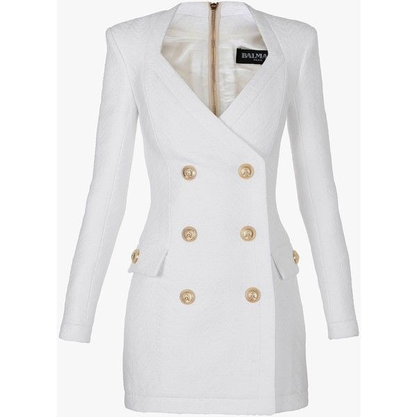 Balmain Cotton-blend double-breasted mini-dress ($2,105) ❤ liked on Polyvore featuring dresses, balmain, outerwear, coats, jackets, white long sleeve dress, long sleeve embellished dress, white day dress, embellished dress and white dress