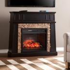 Buffalo 44.25 in. W Faux Stone Infrared Media Fireplace in Black